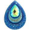 Resin Sew-on Peacock Stones 10pcs 30x40mm Drop Royal Bl Aurora Borealis
